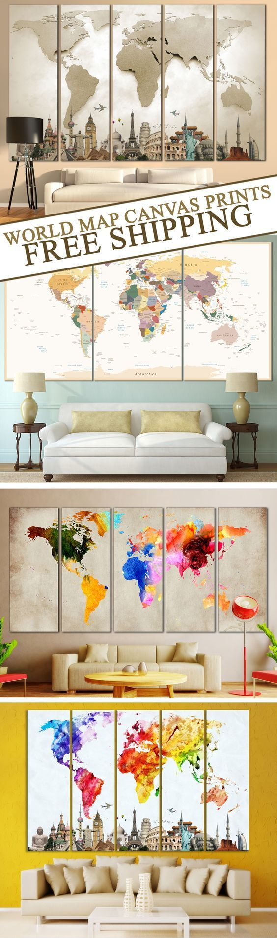 Creative world map canvas prints wall art for large home or office