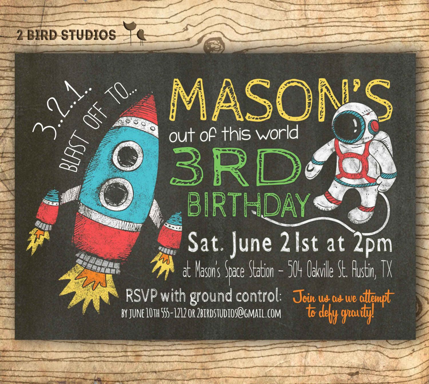 Rocket birthday invitation in chalkboard style for an outer ...