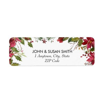 Christmas Winter Floral Return Address Labels  Holiday Card Diy