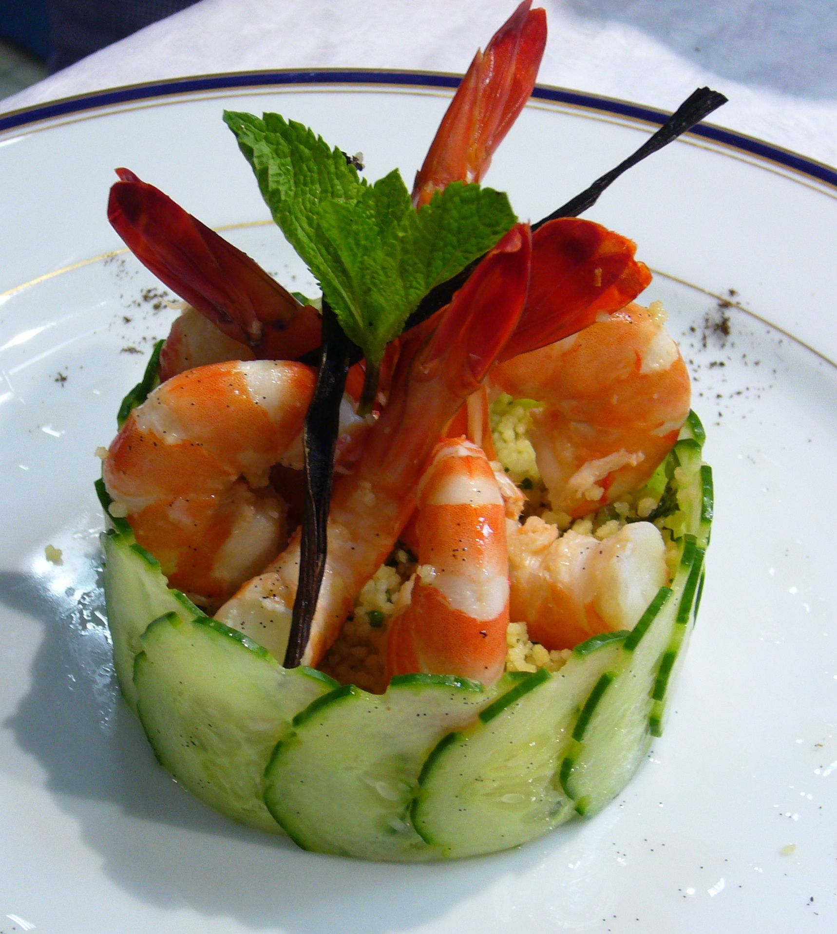 Couscous Salad With Shrimp And Vanilla Oil