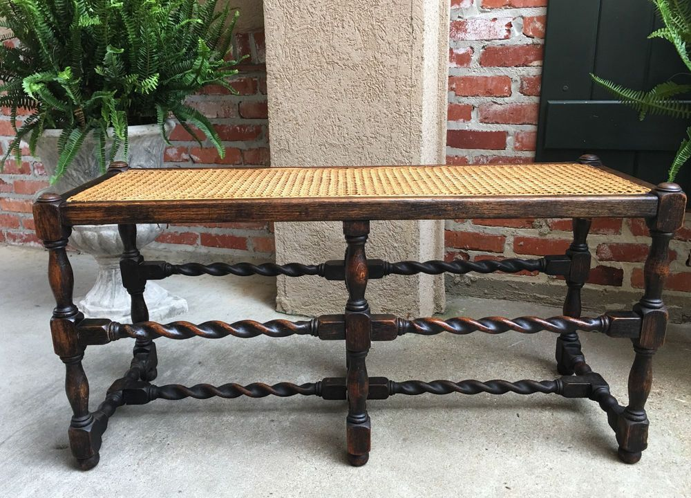Antique English Dark Oak BARLEY TWIST Duet Bench Cane Seat Window Jacobean  #Jacobean