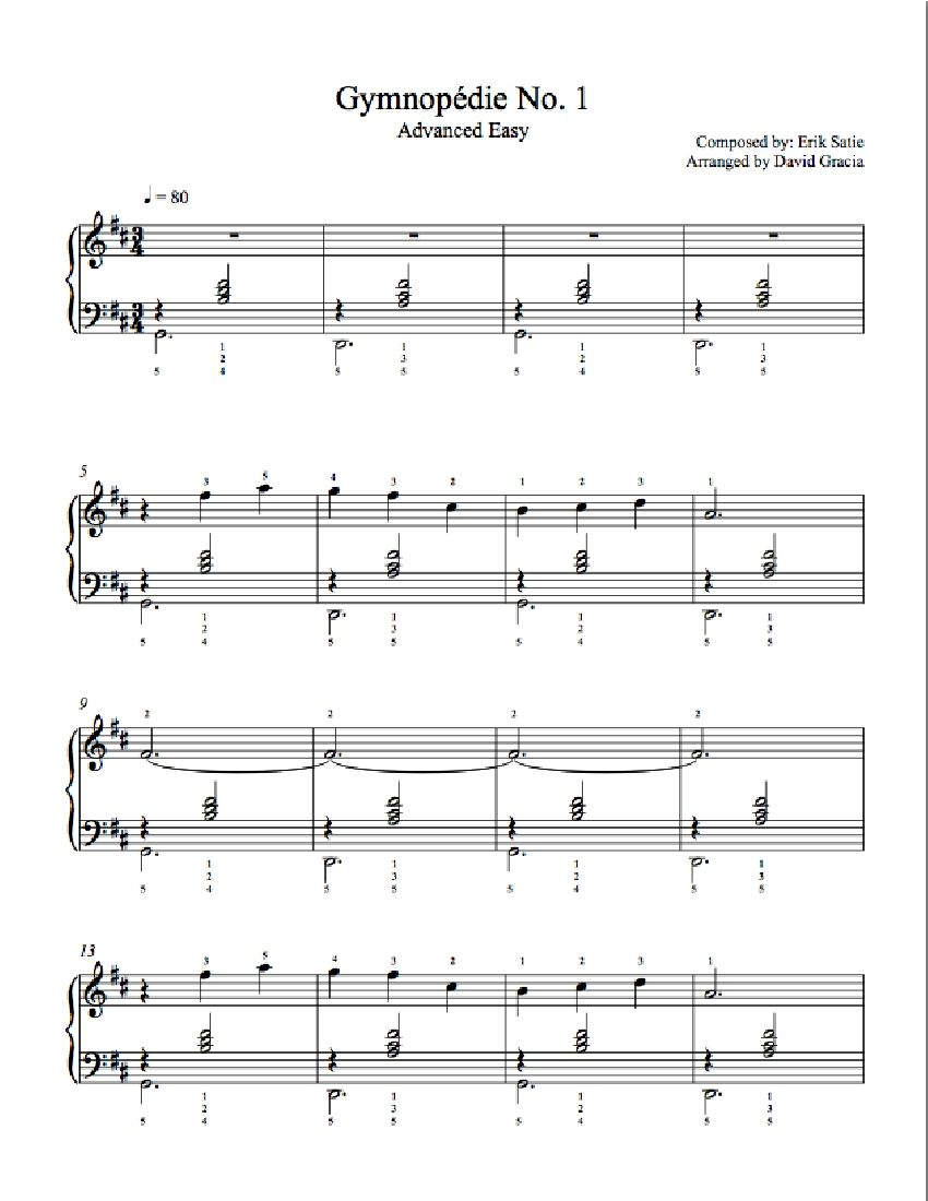 Gymnopedie 1 Roblox Piano Sheet Gymnopedie By Erik Satie Piano Sheet Music Advanced Level Sheet Music Erik Satie Piano Sheet Music