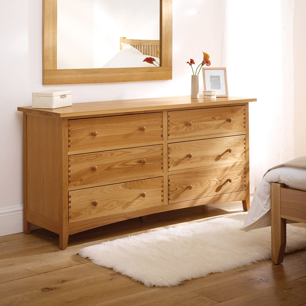 Milton Oak  Drawer Wide Chest Including Free Delivery   Pine Solutions