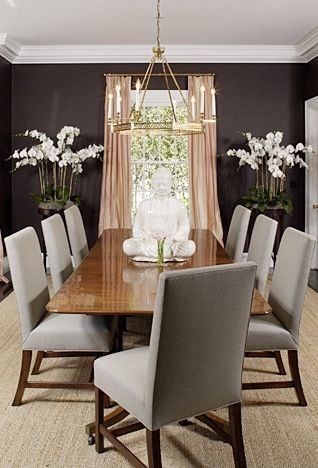 Rustic Glam Dining Chunky Table Comfy Chairs Bold Colors And Chandelier