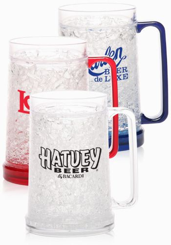 Acrylic Freezer Mugs! Perfect to serve chilled drinks this summer. Get them custom printed to use as a great promotional item or to get a set for yourself!