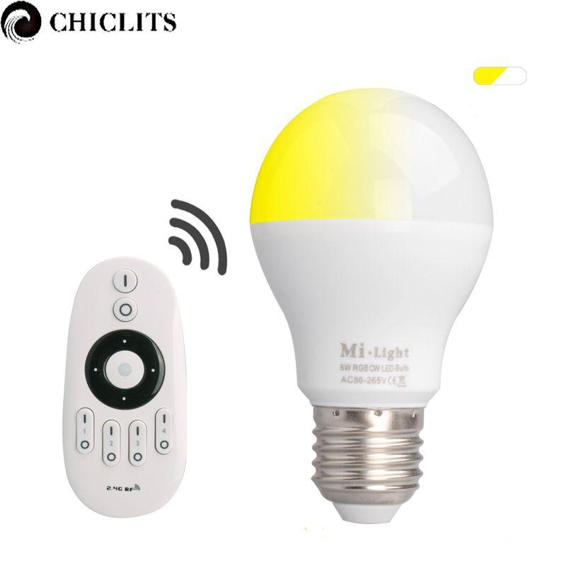 Us 21 43 Feb Only 15 95 Off Original Mi Light E27 6w Led Lamp Ac 85 265v 110v 220v Dimmable Led Bulb Lamp With 2 4g Rf Remote Lighting Light Bulb Led Lamp