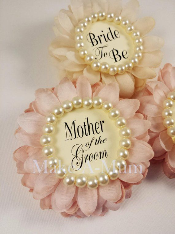Modern Cream & Blush Wedding Party Gift Bridal Shower Corsages | PERSONALIZED Gift Bride To Be | HAND-DYED Wedding Shower Favor | set of 3