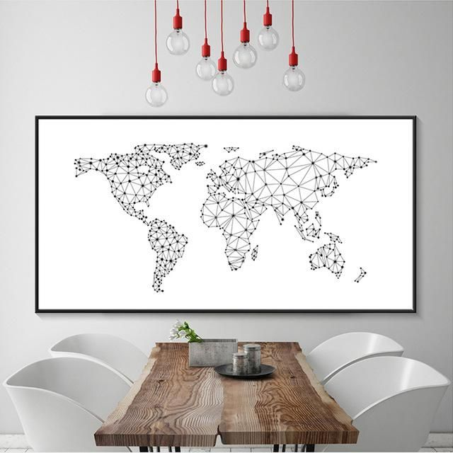 Modern world map canvas painting black white letters art posters modern world map canvas painting black white letters art posters prints large wall pictures for living gumiabroncs Images