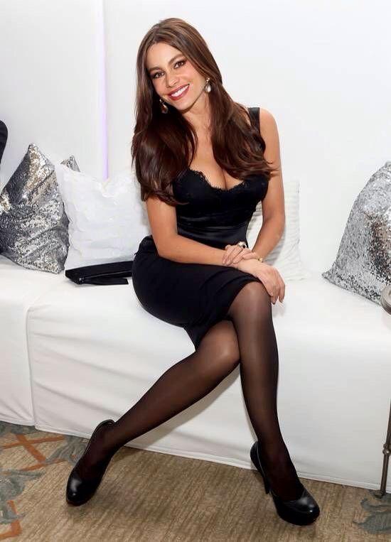 Sofia Vergara Crossed Pantyhosed Legs In A Hot Black