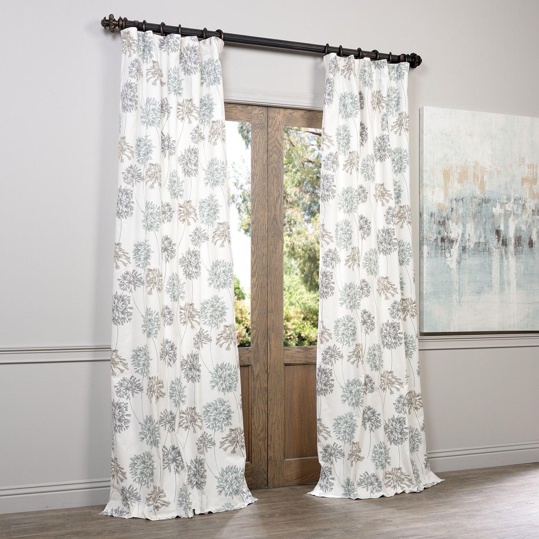 Window decor diy  exclusive fabrics allium blue and grey printed cotton curtain panel