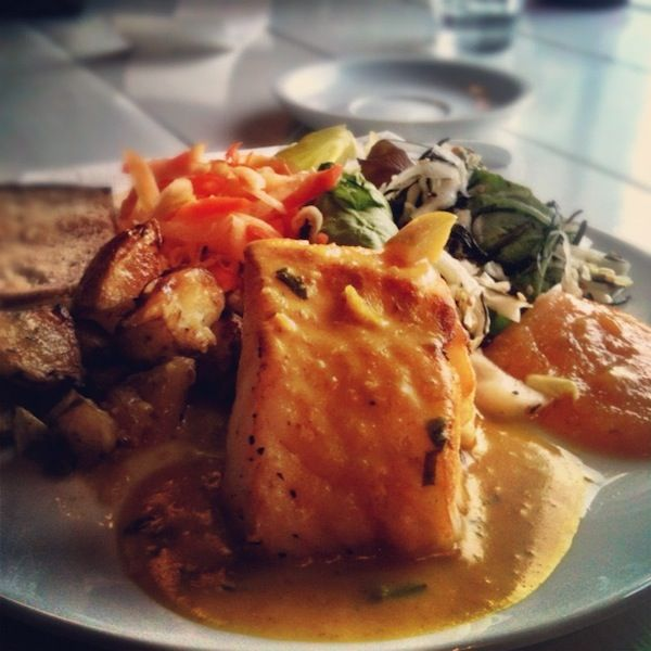 Cod and curry sauce in Reykjavik, Iceland