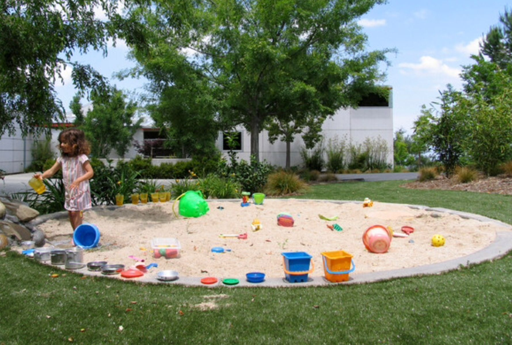 Fire Pit Area Use As Sand Box Large Backyard Landscaping Playground Design Outdoor Kids Play Area