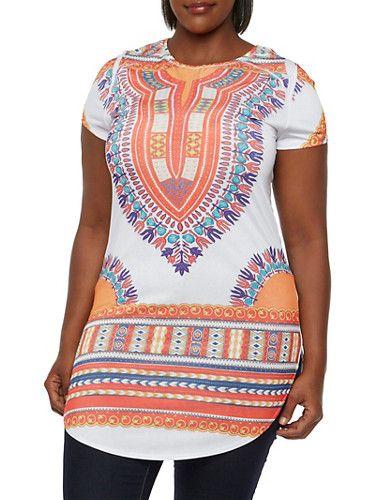 Plus Size Short Sleeve Tunic Top with Dashiki Print