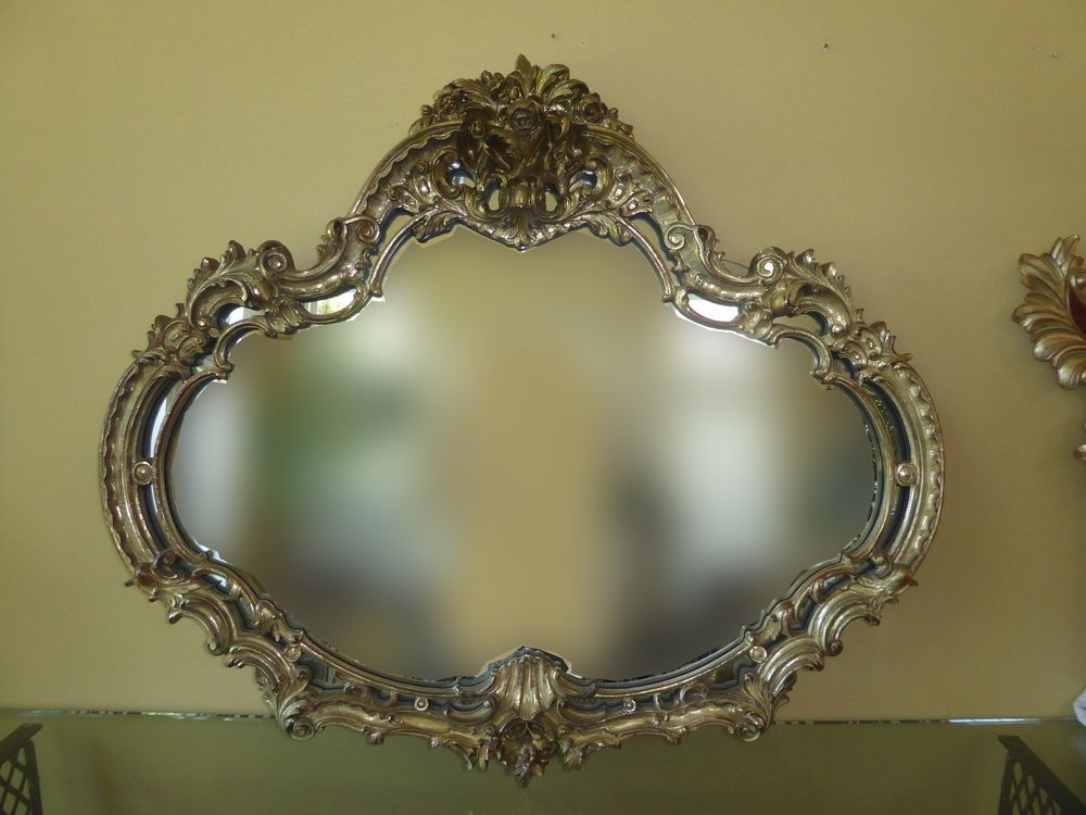 Large Vintage French Provincial Rococo Gold Ornate Wall Mantle Mirror W Scrolls Frenchprovincialrococobaroque Unknown