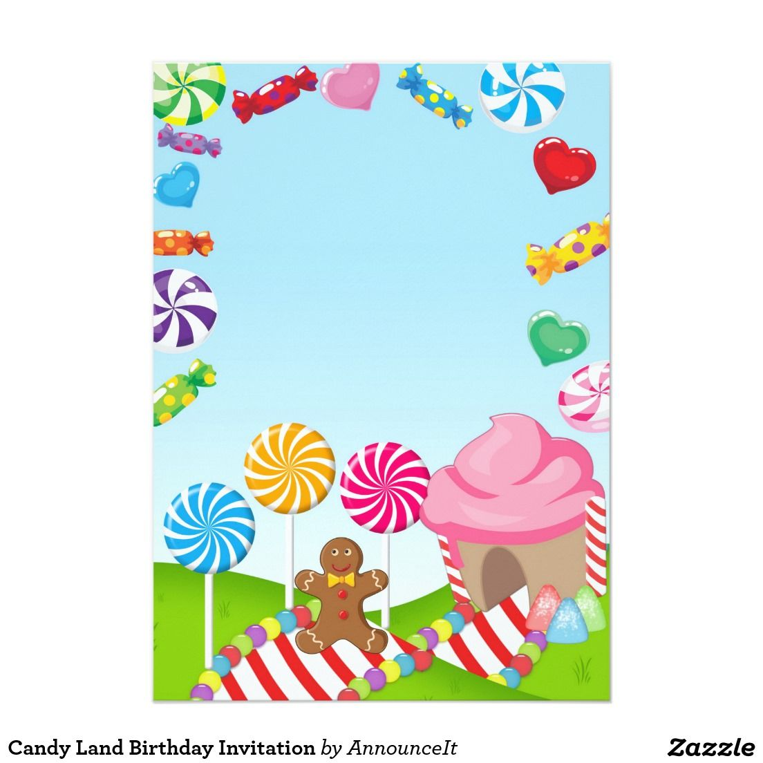 Candy Land Birthday Invitation Candy land birthday Candy land and