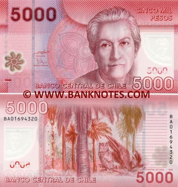 CHILE 5000 PESOS Banknote Circulated Single Note Chilean 5000 Banknotes