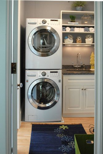 Traditional Laundry Photos Stacked Washer And Dryer Design