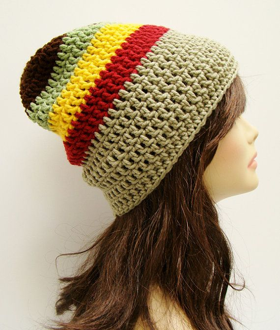 9fd65e53705 FREE SHIPPING - UNISEX Slouchy Crochet Beanie Hat - Rasta - Red ...