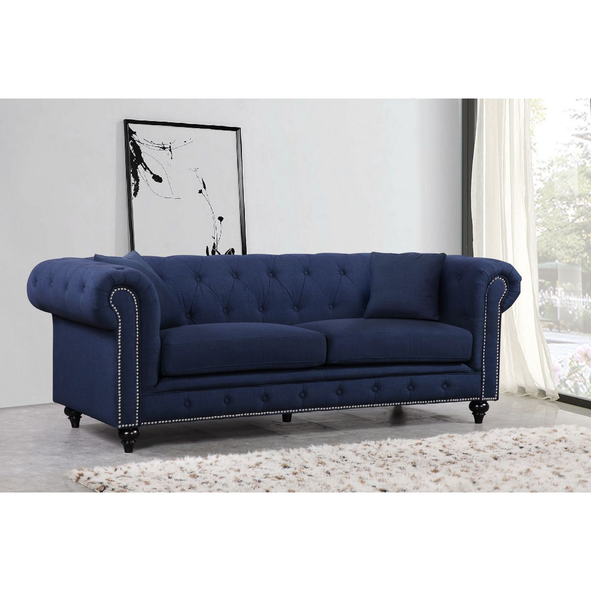 Chesterfield Tufted Navy Linen Sofa w/ Silver Nailhead Detail #dynamichome #blue #tufted #fabric #sofa #chesterfield #nailhead #traditional #style #homedecor #inetriors #interiorsdesign #livingroom #greatroom #linen #navy #color #inspo