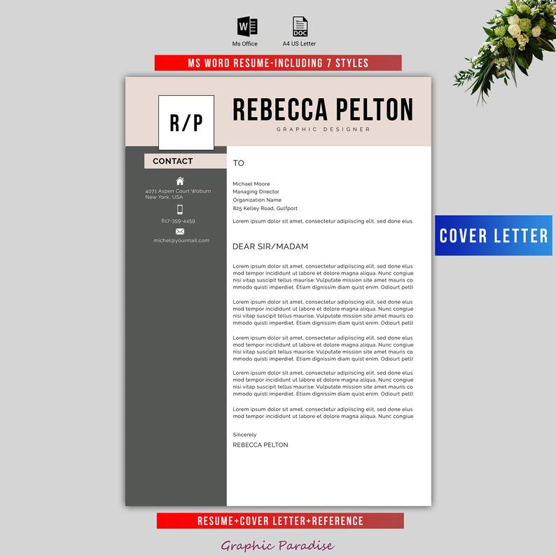 Professional Resume Template | Modern CV Template for Word | Cover Letter | Clean Modern Resume Template | Mac & PC |Instant Download