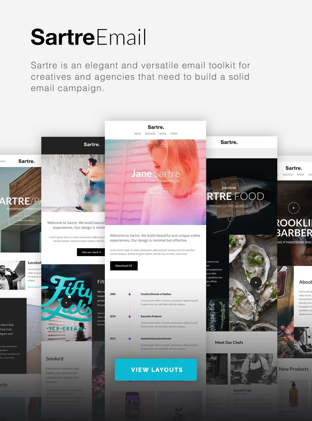 Sartre Responsive Email Toolkit 120 Sections Online Builder