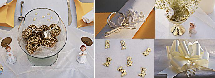 Decoration Table Pour Premiere Communion Fille Dore Blanc