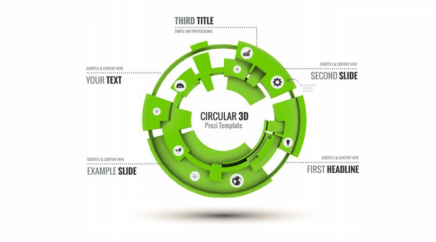 An Infographic Prezi Template With Colorful CogsGears On A D