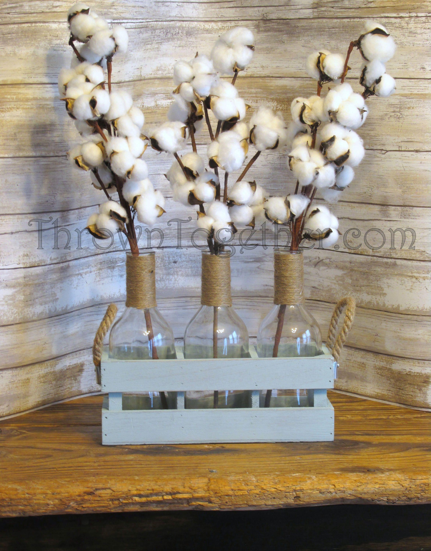 Rustic Farmhouse Cotton Centerpiece Arrangement, Farmhouse ...
