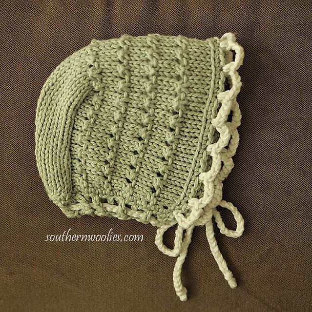 """Ravelry: Bonnet to Match Quickie (""""5-hour"""") Baby Sweater pattern by Fiber Gypsy"""