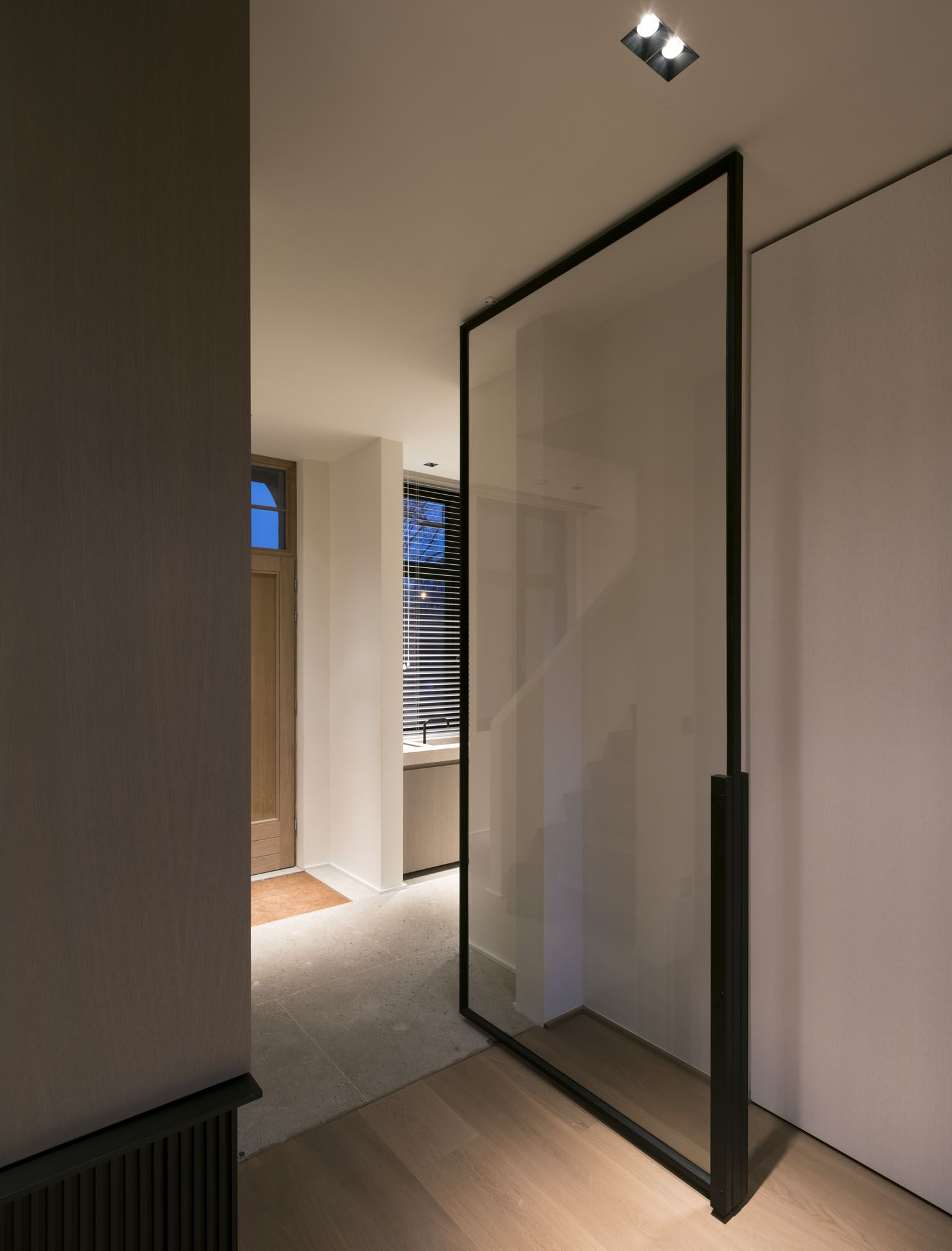 Exciting Modern Front Doors Ideas For Modern Home Design Recessed Lighting And Modern Front: Kreon Lighting Minimalist Modern LED Design Architecture Glass Door Steel Black Recessed