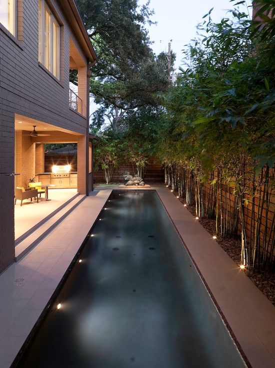 Exterior Design, Clever Contemporary Pool Design From Landscape Design  Houston Also Untreated Bedboard Wall Design Also Beige Bricks Wall  Material:u2026