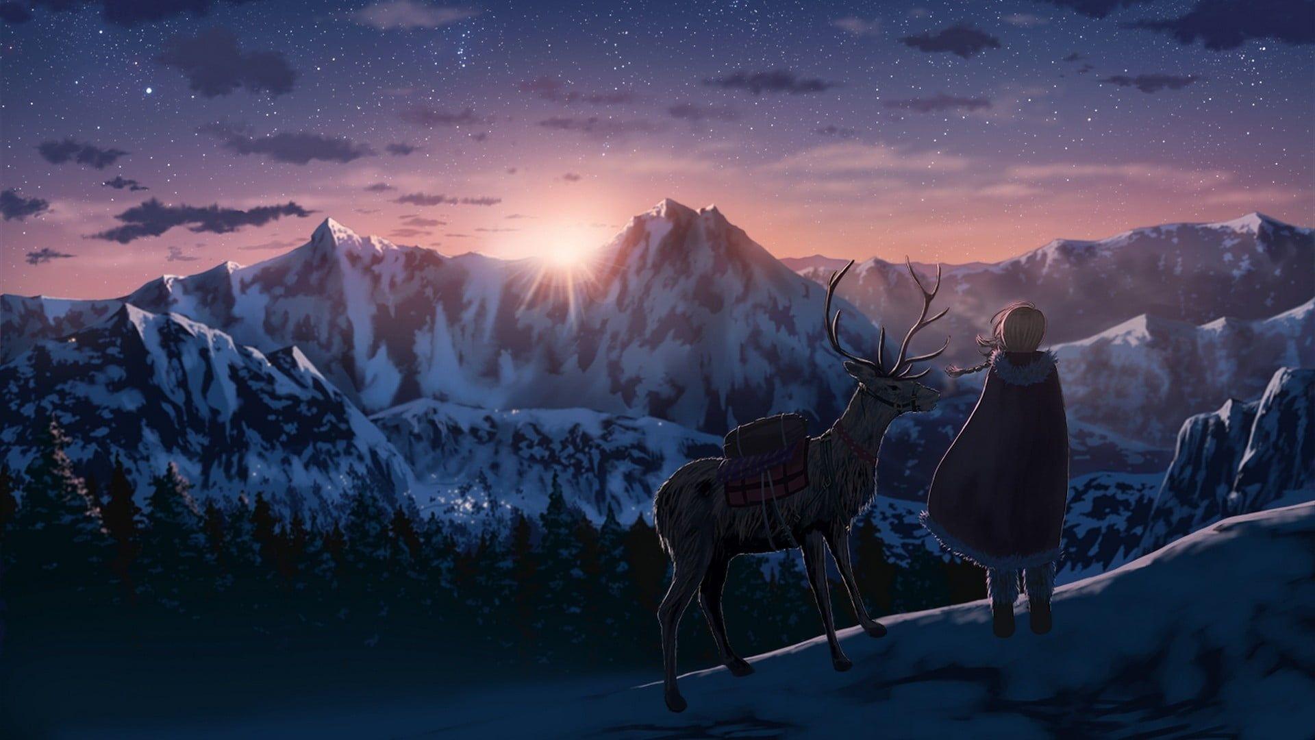 Anime Anime Girls Deer Snow Winter Mountains Sunset 1080p Wallpaper Hdwallpaper Desktop Anime Scenery Anime Wallpaper 1080p Anime Wallpaper