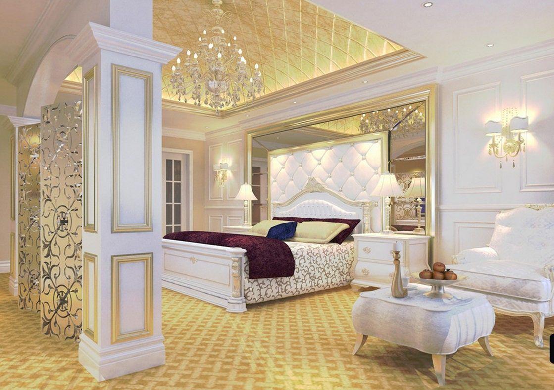 Luxury Master Bedroom Golden Ceiling And White Furniture Interior Luxurywhitefurniture Luxury Bedroom Master Luxurious Bedrooms Luxury Bedroom Design