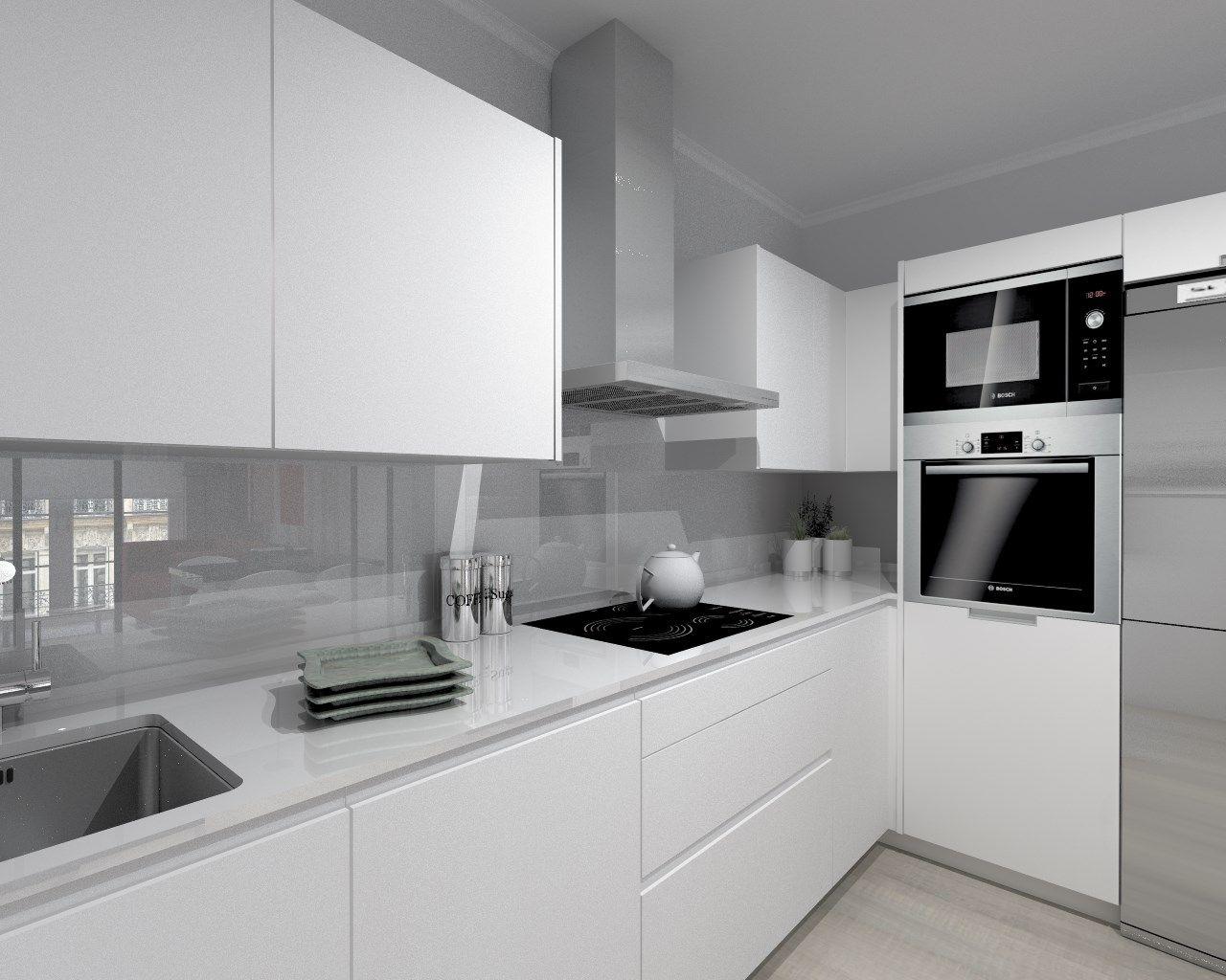 Cocina santos modelo line estratificado blanco encimera for Cocinas alargadas modernas