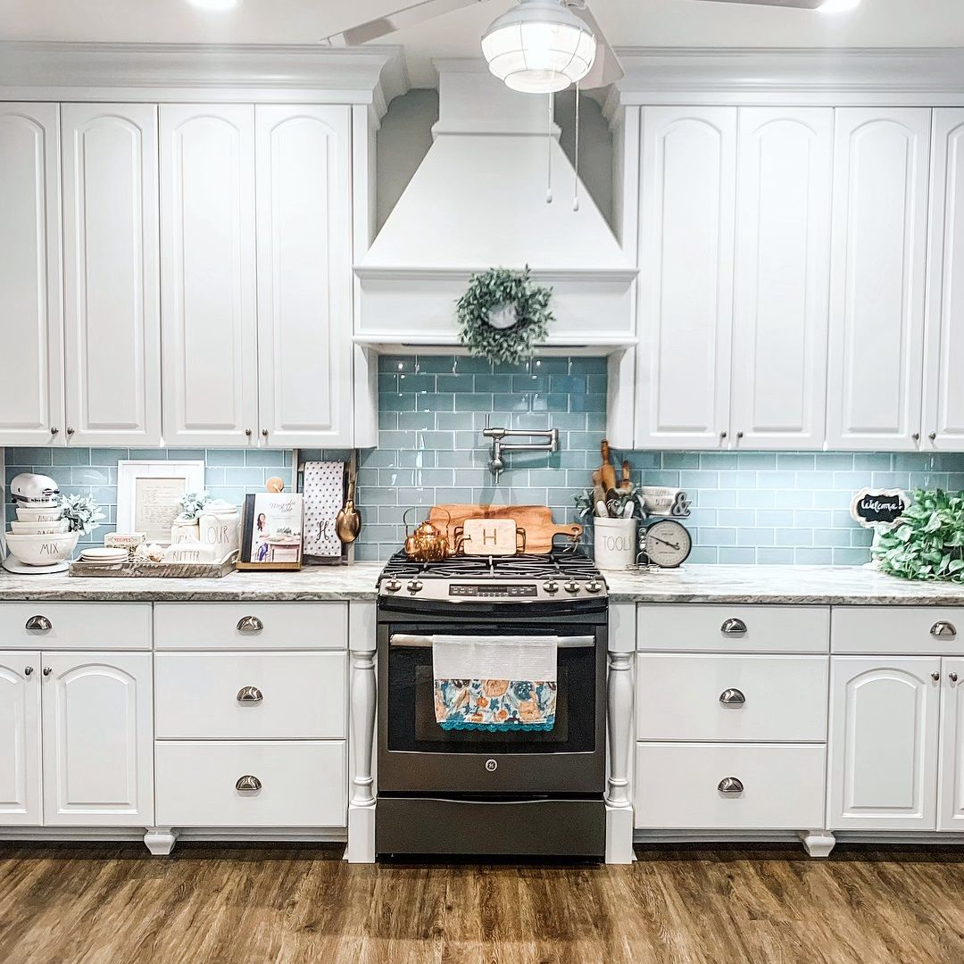 modern farmhouse kitchen with white cabinets subway tile and granite countertops moder on farmhouse kitchen granite countertops id=17463