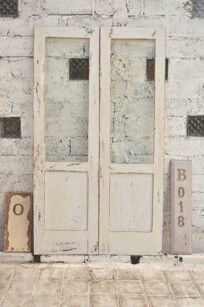 Door B018 110cm 193cmアンティーク建具ダブルドア白 インテリア 雑貨 家具 Antique 35000yen 〆06月24日 アンティーク