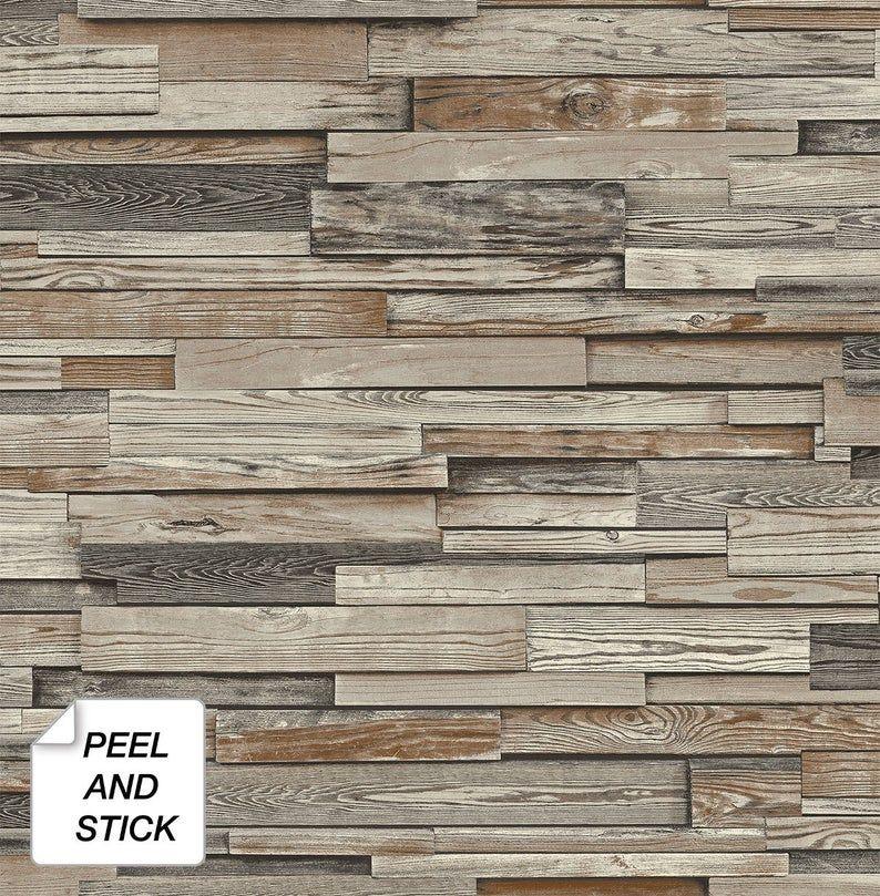 Wallpaper Peel And Stick Wood Peel And Stick Wallpaper Etsy Peel And Stick Wood Wood Vinyl Wood Wallpaper