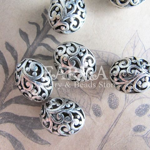 Silver plated hollow out oval metal beads, 5 pieces antique silver style, metal rondelle, jewelry making supplies beads