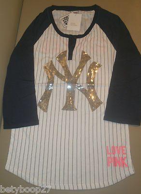 Victorias Secret PINK Love MLB New York Yankees Bling Henley Shirt ...