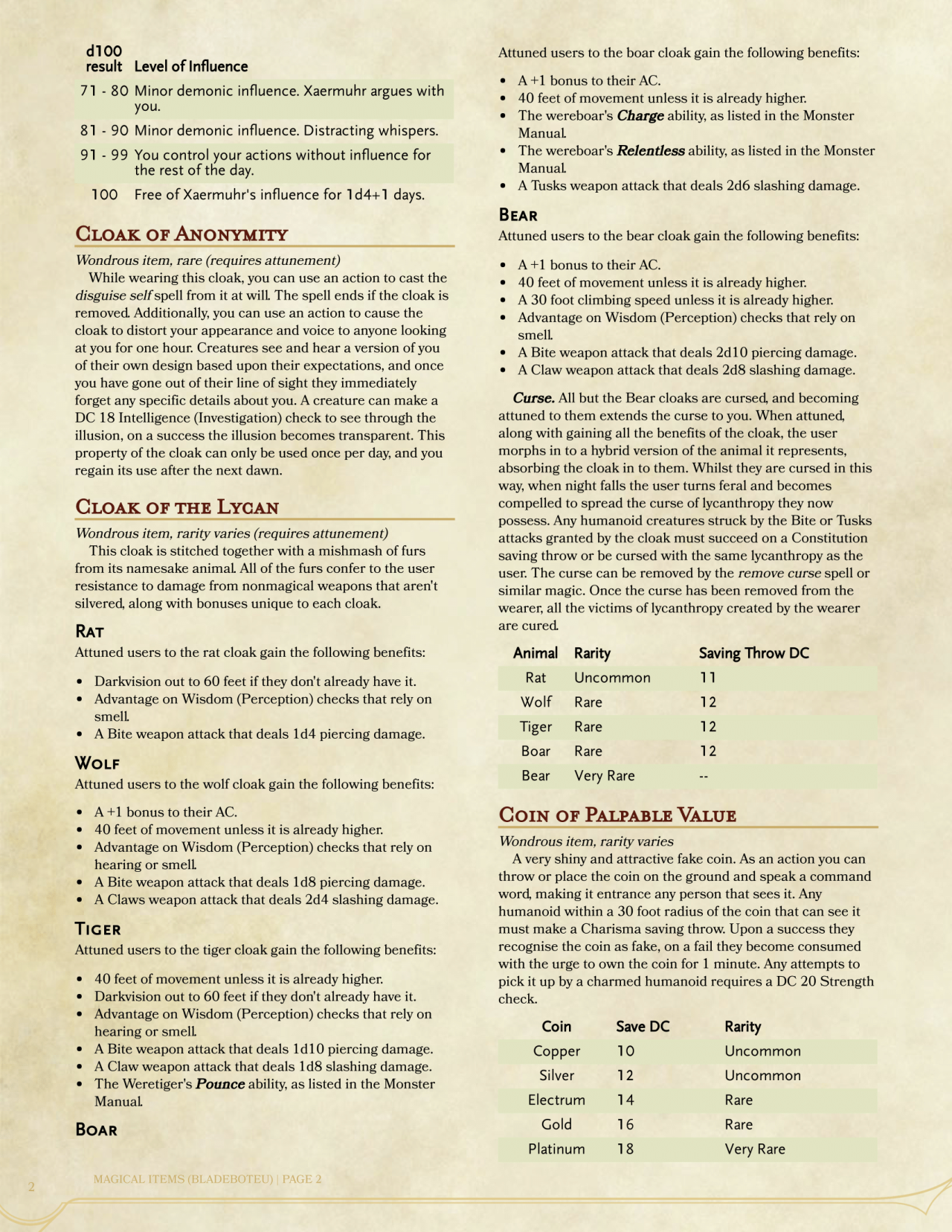 DnD 5e Homebrew — Magic Items Collection Volume 1 by