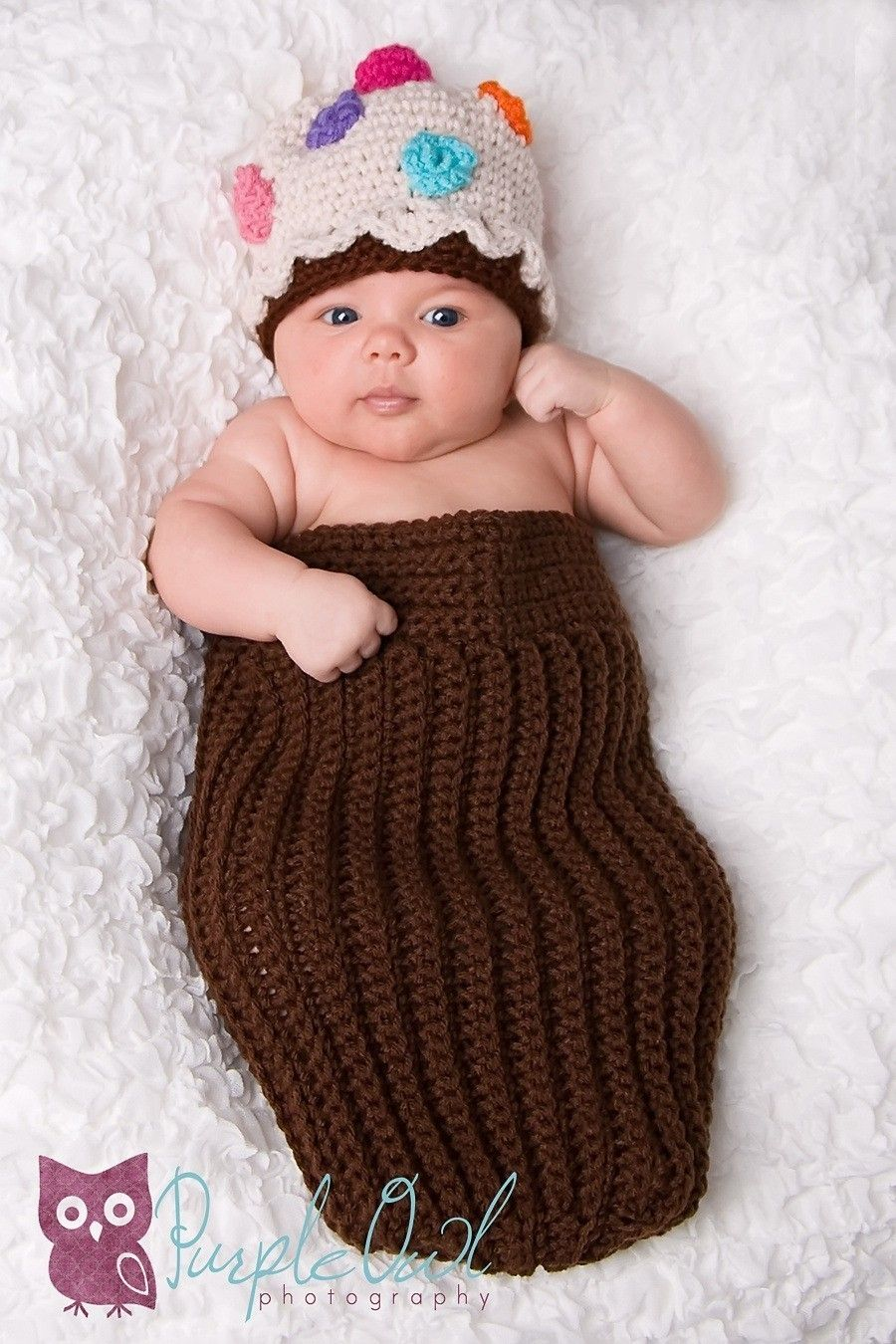 Cupcake Cocoon and beanie set crocher pattern PDF 264 | Baby kind ...