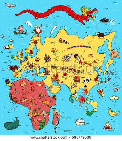 Illustrated map europe asia africa funny stock vector funny illustrated map europe asia africa funny stock vector gumiabroncs Image collections