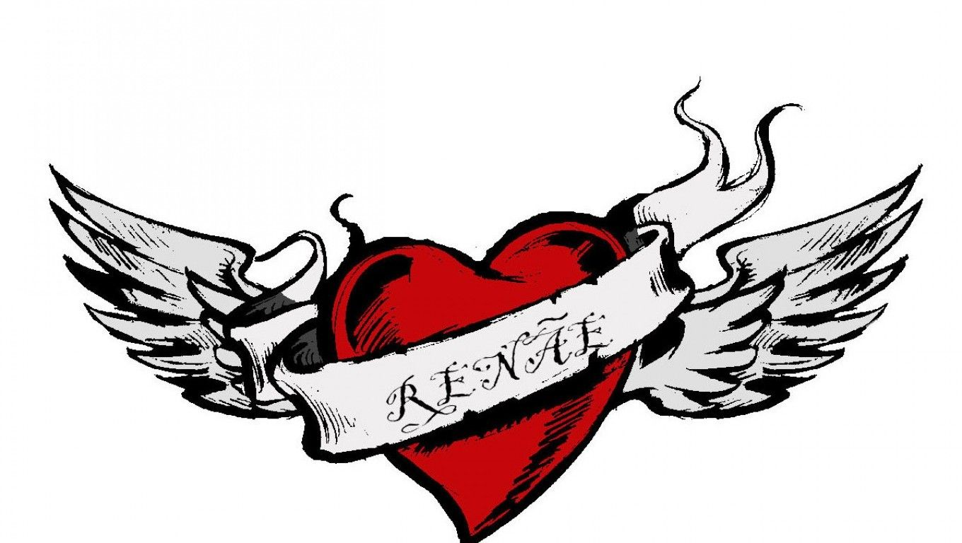 Heart with wings and name Broken heart tattoo designs