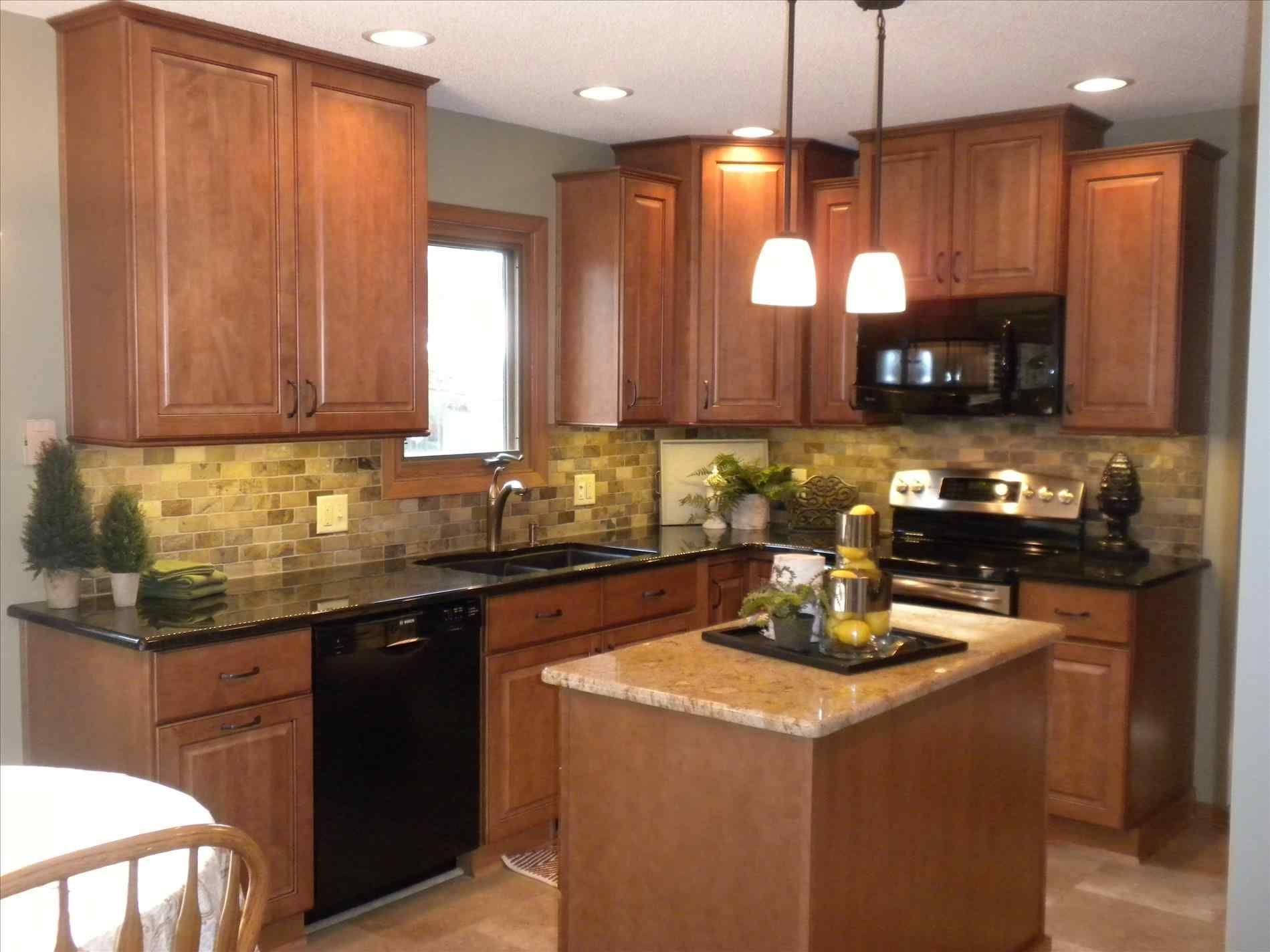 Black Stainless Steel Appliances With Oak Cabinets Colors And Countertops Popular Small Design