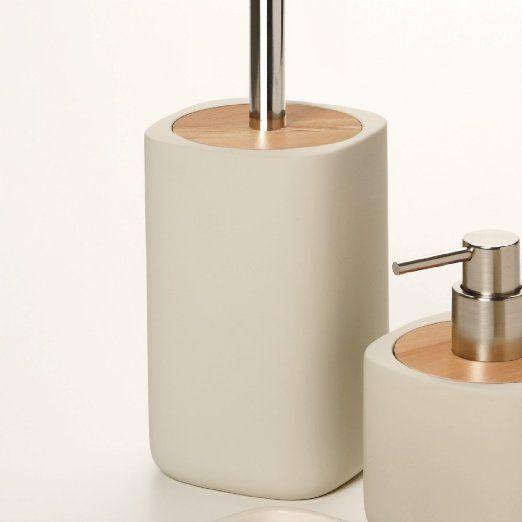 Porta Scopino Ceramica E Legno Serie Twin Sabbia Legno