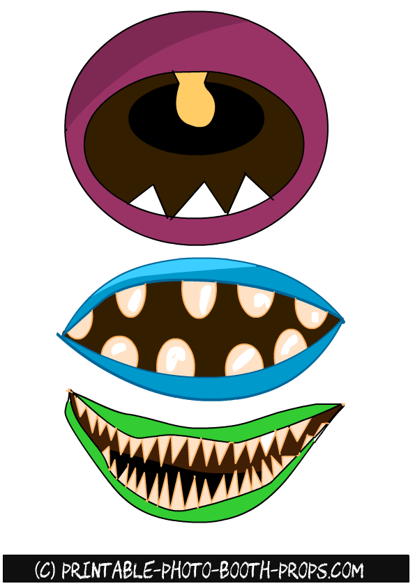 Free Printable Monster Mouths Photo Booth Props With Images