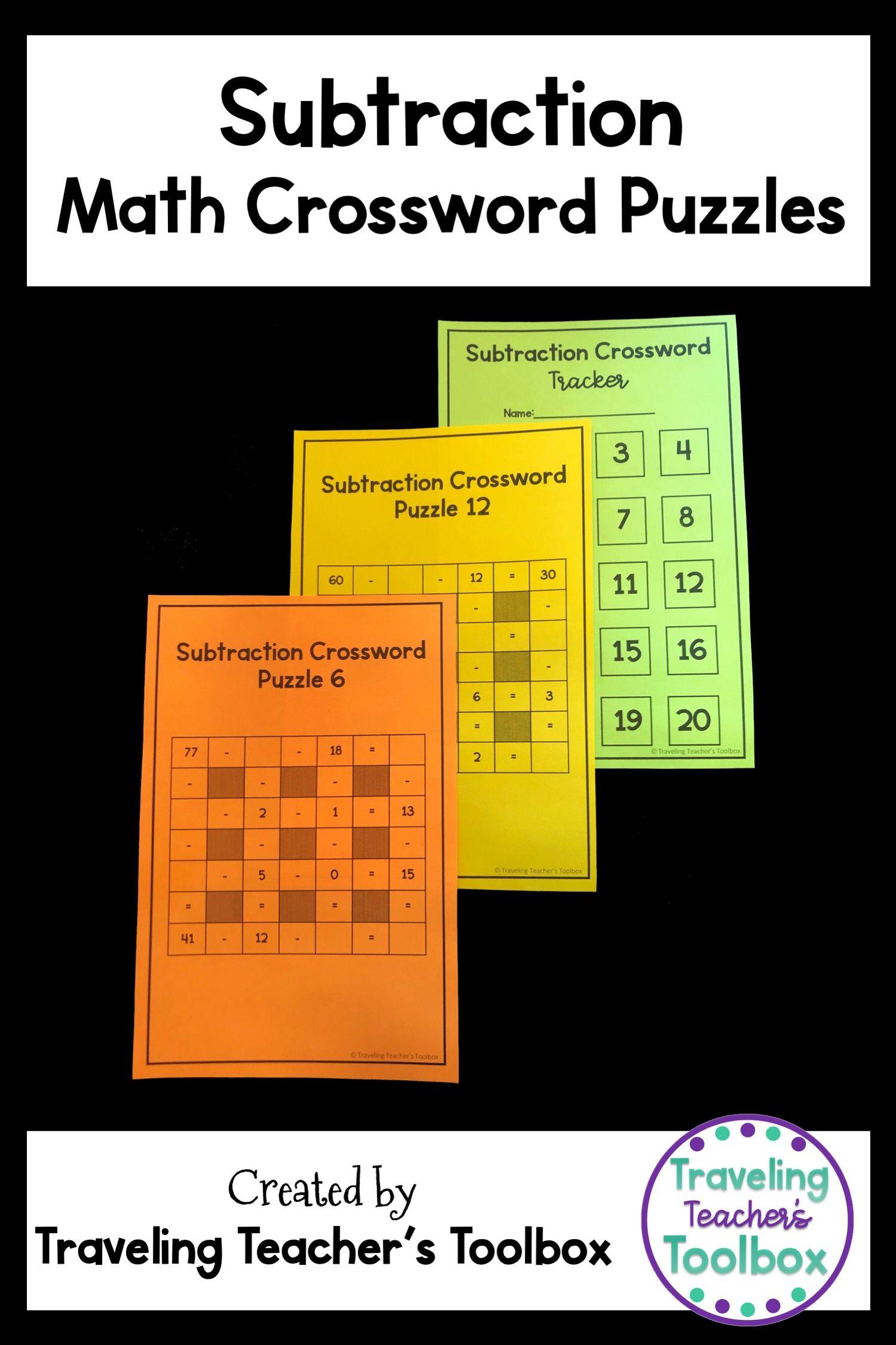 Subtraction Math Crossword Puzzles