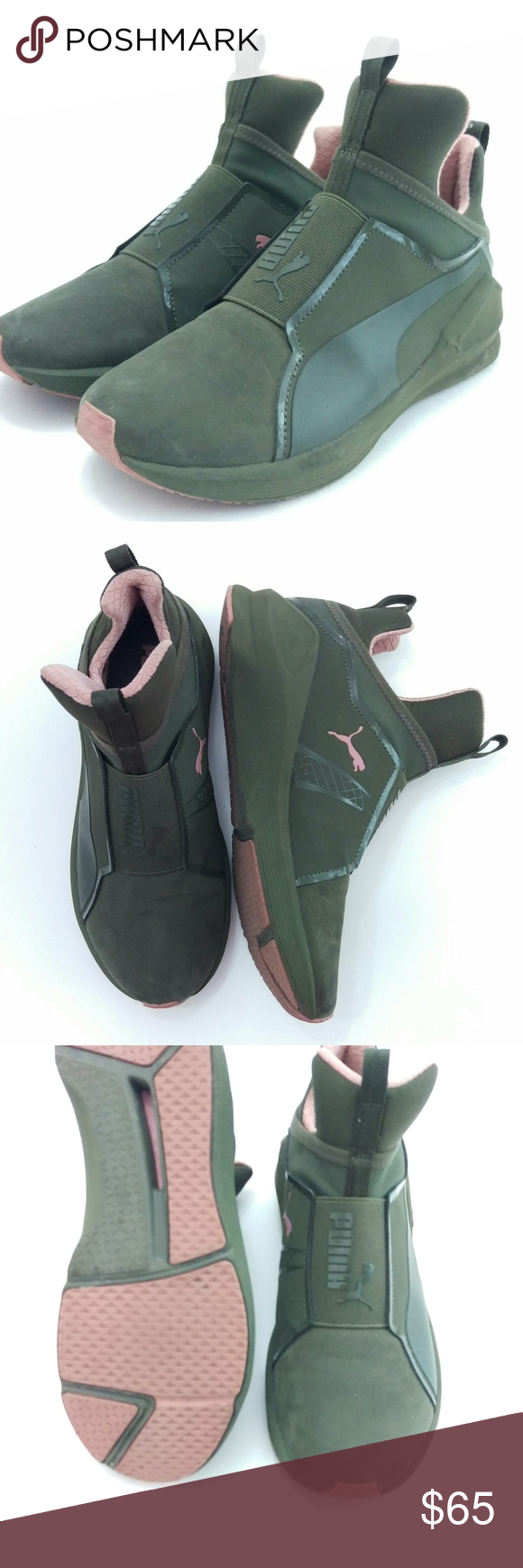 Puma Fierce (Sz 5) olive green and pink