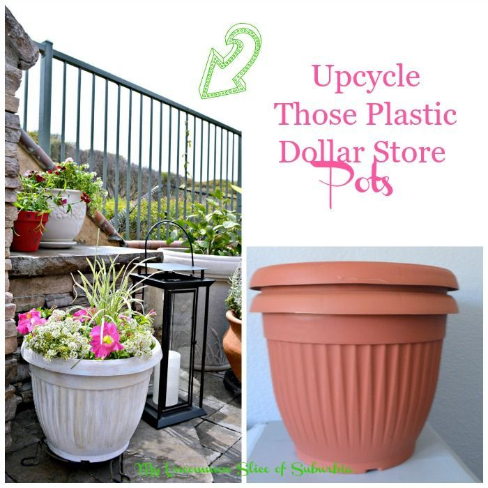 Sprucing Up The Yard With Upcycled Dollar Store Planters Diy Planters Outdoor Outdoor Planters Diy Planters