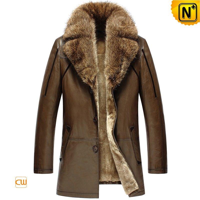 CWMALLS® Billings Brown Shearling Leather Coat CW858037 - Men's ...